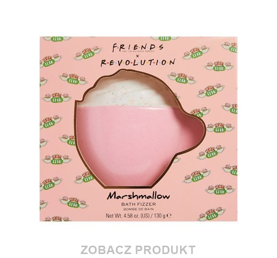 MAKEUP REVOLUTION X FRIENDS BATH FIZZER MUSUJĄCY KUBEK DO KĄPIELI MARSHMALLOW 130G