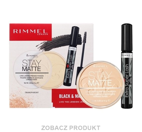 RIMMEL ZESTAW PREZENTOWY BLACK & MATTE - TUSZ EXTRA SUPER LASH BLACK + PUDER STAY MATTE 001
